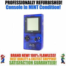 *NEW GLASS SCREEN* Nintendo Game Boy Pocket GBP Clear Blue System MINT NEW