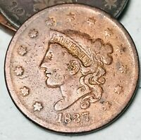 1837 Large Cent Coronet Head 1C Higher Grade Good Date US Copper Coin CC4217