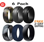 Silicone Wedding Ring for Men, 6 Pack Breathable Silicone Rubber Wedding Bands