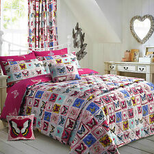 Butterfly Maison King Size Bed Bright Pink Duvet Cover Set Reversible Velosso