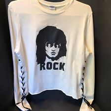"VTG~OLD NAVY ROCK 83~WOMENS BLOUSE SHIRT TOP~LACED SIDE TIES~19""pit LONG SLEEVE"