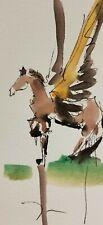 JOSE TRUJILLO ORIGINAL Watercolor Painting SIGNED Small 3x6 Pegasus HORSE