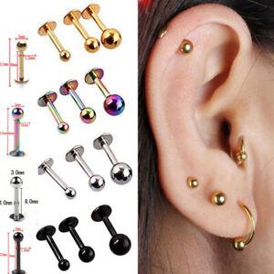 10Pcs 16G Stainless Steel Labret Ear Lip Ring Ball Stud Body Piercing Bars Lot