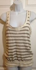 ONE CLOTHING Cute Creamy Beige, Gray Striped Knit Tank Top Shirt SMALL