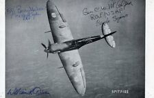 WWII RAF EAGLE SQUADRON: Picture of Spitfire Autographed by 3 USA Aces