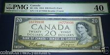 "DEVILS FACE, ,$ 20 1954, Bank of Canada ,PMG 40 ,""Devil's Head"" series ! EF"
