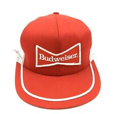 NEW VINTAGE Budweiser Trucker Hat Red Snapback Sewn Patch Cap 80s MADE IN USA