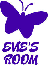 Door Sign Personalised Butterfly Name Girls Room Sticker Vinyl Decal