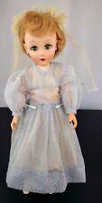 "Vtg Eegee ? Doll 19"" Blue Wedding Dress Green Sleepy Eyes Creepy Haunted Decor"