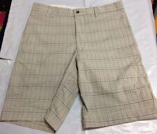 NWT - Mens Size 34 Greg Norman Signature Series Plaid Golf / Chino Shorts