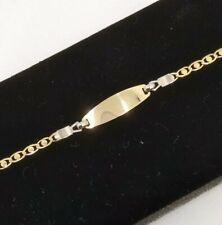 Bracelet Gold 18k. For Girl, With Badge For Engrave