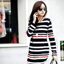 Pregnancy Women's Mini Dress Maternity Long Sleeve Stripe Top Blouse Shirt HOT
