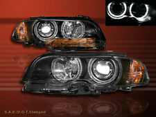 2000-2003 BMW 3-SERIES E46 2DR TWIN HALO HEADLIGHTS W/ CORNER LIGHT BLACK AMBER