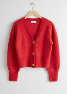 & Other Stories Red Gold Heart Button Wool Cardigan SOLD OUT Size XS