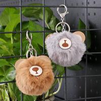 Bag Charm  Key Holder  Fur Ball Keyring Doll Keychain Rings Pendant Bear head
