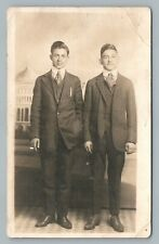 Handsome Brothers—Three Piece Suit RPPC Washington DC Studio Photo Smoking 1910s