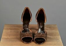 Vtg Women's 1940s Brown Sparkly Open Toed Heels Sz 8 #2802 40s Shoes
