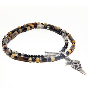 Skull Pendant Beaded Necklace for Men and Women PERO25