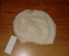 Nouveau Bébé Fille Crème béret chapeau avec fil d'argent Âge 3-6 mois