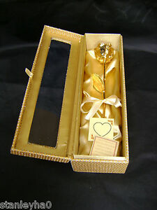 Wedding Gift - 12 Inch 24K Gold Dipped Real Rose in a Gold Egyptian Casket NEW
