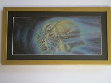 LARRY ORTIZ ILLUSTRATION PAINTING SPACE CRATER METEOR SCIENCE FICTION ABSTRACT