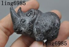 Collect Old Chinese Ox horn hand carved  Fengshui Animal rhinoceros Rhino Statue