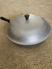 Club Hammercraft Aluminum Cookware Wood Handle Skillet W/ Lid 4 Quart Pan Frying