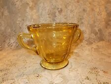 Vintage 1930's FEDERAL Depression Glass SUGAR BOWL Gold Yellow Madrid Pattern