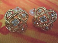 AVON*VTG.*TIC-TAC-TOE PIERCED EARRINGS W/RHINESTONE & SURGICAL STEEL POSTS*NEW*