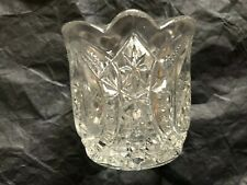 Vintage Clear Glass Toothpick Holder 3-Mold Design Scalloped Edge  2 1/4