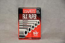 """FAX PAPER STAPLES 269571 ~ SIX ROLLS 98' ~ 216mm x 30m 1/2"""" Core 8 1/2"""" x 98' .."""