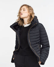 SALE! ZARA NAVY QUILTED JACKET PUFFER FUR COLLAR UK 12/14 L LARGE EU 40 US 8 NEW