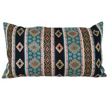 "Turquoise Kilim Pattern Tapestry 14x24"" Pillow Case/Cushion Cover (Velvet back)"