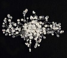 Pearl & Crystal Diamante Rhinestone Hair Comb Clip Wedding Prom