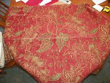 Burgundy Green Leaf Print Chenille Upholstery Fabric Remnant  F392