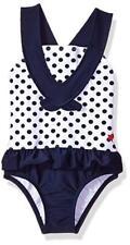 Kiko & Max Girls Navy Dots One-Piece Peplum Swimsuit Size 2T 3T 4T 4 5 6 6X