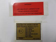 Aston Martin V8 líquido de frenos Etiqueta Dot 4 &' e' Etiqueta de Marca