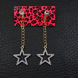 Betsey Johnson White Enamel Lovely Five-pointed Star Women's Ear Stud Earrings