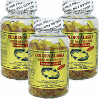 3 x 100 SG Golden Alaska Deep Sea 1000 MG Fish Oil Omega-3,6,9 EPA DHA,= 300 Cap