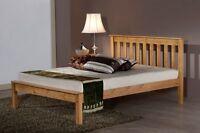 Birlea Denver Shaker Style Pine Wood Bed Double 4ft6 + Mattress Options