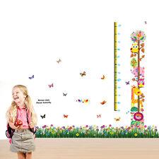 Butterflies grass Kids Animal Height Measure Wall Stickers Children Decal Mural