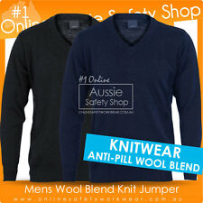 MENS ANTI-PILL PULLOVER WINTER WOOL BLEND KNIT JUMPER - Navy/Black - SZ XXXS~4XL