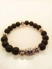 Chrome Baby King David's Hearts Black Lava Rock G-Dragon Spiritual Bead Bracelet