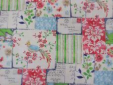 Vintage Postcard Patchwork Bird Kashu Navy Designer Curtain Fabric