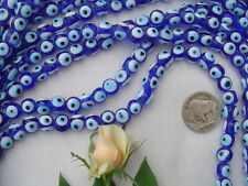 "8mm Trans Cobalt Blue Evil Eye Lampwork Glass Beads/15"" strand"