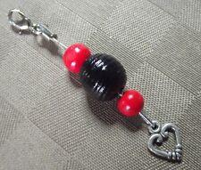 Bijou  sac & fermeture éclair Le Rouge et Le Noir * coeur * CADEAU * bag charm