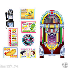 1950s Sock Hop Grease Party Decoration SODA SHOP Diner SIGNS & JUKEBOX PROPS