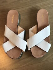 WOMENS NINE WEST WHITE FLAT LEATHER SANDALS SHOES SIZE 8 M BRAND NEW