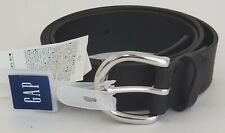 New GAP Women's Classic Belt BLACK Silver Buckle Adjustable Cow Leather MEDIUM
