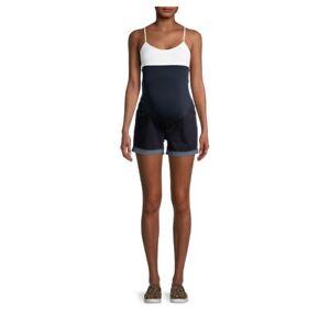 Time And Tru Women's Maternity Shorts Full Panel Dark Wash Blue size Medium New